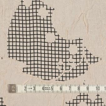 レーヨン&アセテート×幾何学模様(バニラ&ブラック)×風通織 サムネイル4