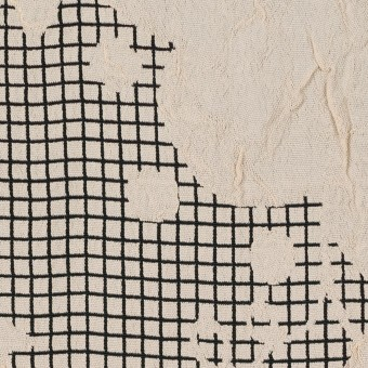レーヨン&アセテート×幾何学模様(バニラ&ブラック)×風通織 サムネイル1