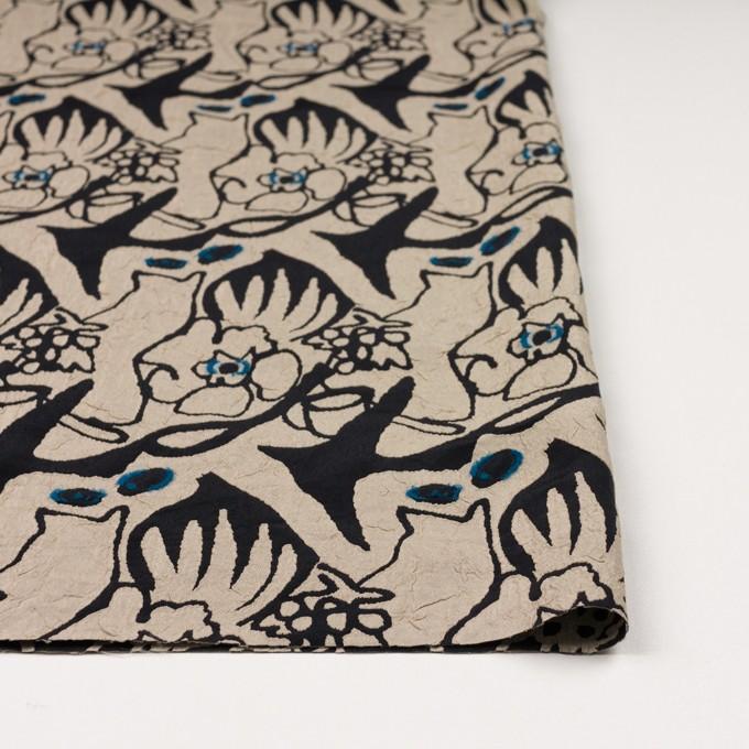 レーヨン&アセテート混×幾何学模様(キナリ&ブラック)×風通織カットジャガード イメージ3