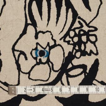 レーヨン&アセテート混×幾何学模様(キナリ&ブラック)×風通織カットジャガード サムネイル4