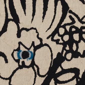 レーヨン&アセテート混×幾何学模様(キナリ&ブラック)×風通織カットジャガード