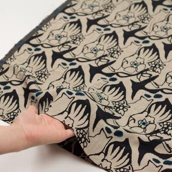 レーヨン&アセテート混×幾何学模様(キナリ&ブラック)×風通織カットジャガード サムネイル5