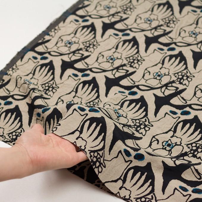 レーヨン&アセテート混×幾何学模様(キナリ&ブラック)×風通織カットジャガード イメージ5