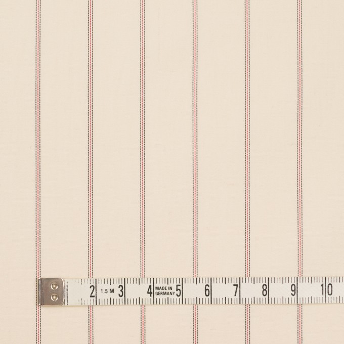 コットン×ストライプ(キナリ、レッド&ブラック)×ポプリン_イタリア製 イメージ4