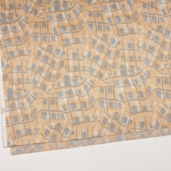 コットン&キュプラ混×幾何学模様(ネープルス&グレー)×サテン_イタリア製 サムネイル2
