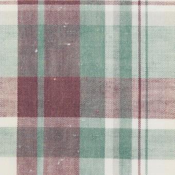 コットン×チェック(グレイッシュパープル&ミント)×シーチング サムネイル1