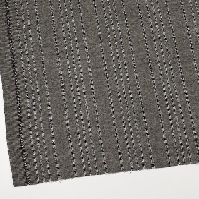 コットン&バンブー混×ストライプ(ブラック&キナリ)×ガーゼ イメージ2