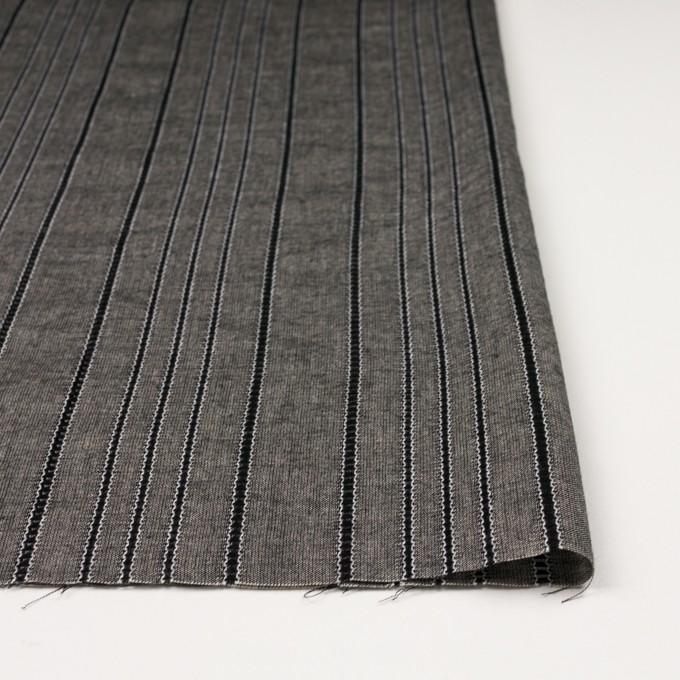 コットン&バンブー混×ストライプ(ブラック&キナリ)×ガーゼ イメージ3