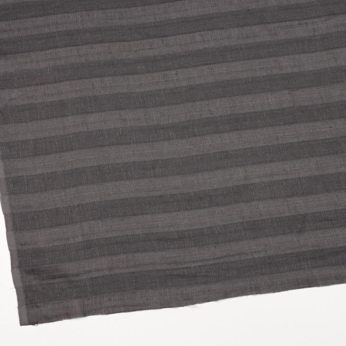 リネン&コットン×ボーダー(スチールグレー)×Wガーゼ イメージ2