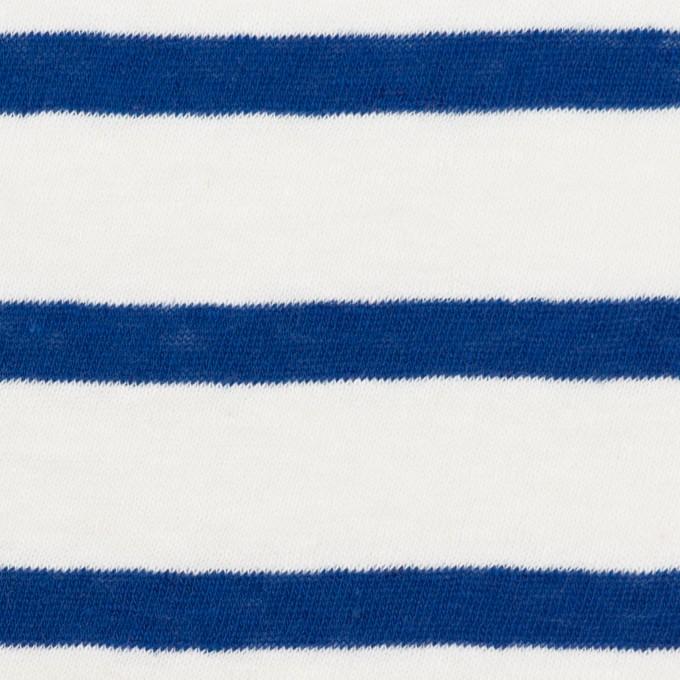 コットン×ボーダー(オフホワイト&マリンブルー)×天竺ニット イメージ1