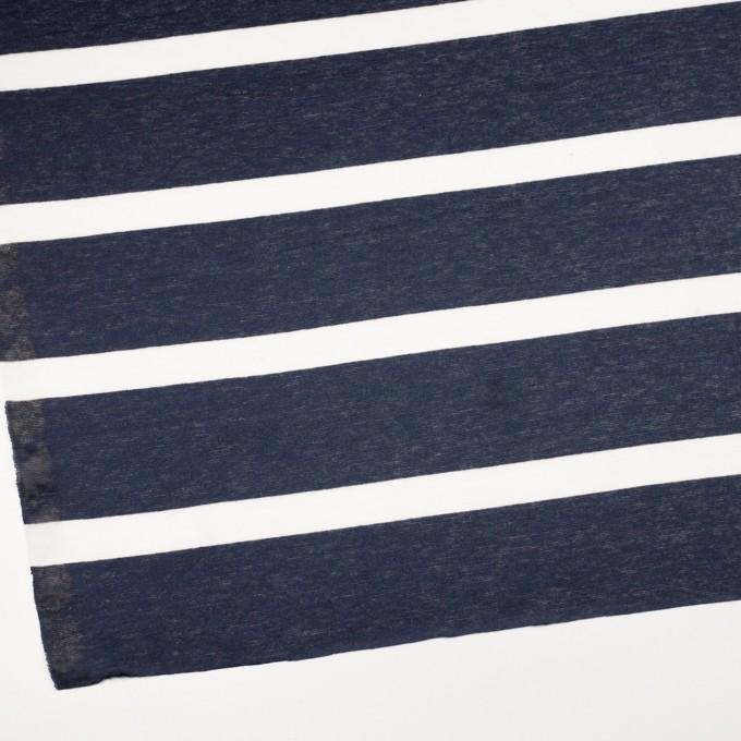 コットン&リネン×ボーダー(オフホワイト&ダークネイビー)×天竺ニット イメージ2
