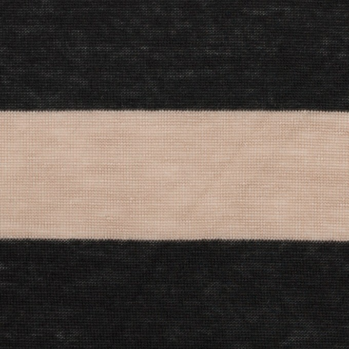 コットン&モダール×ボーダー(ベージュ&ブラック)×天竺ニット イメージ1
