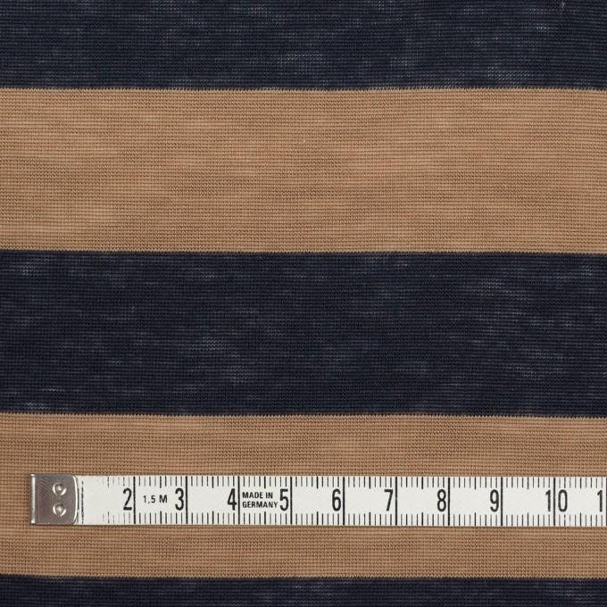 コットン&モダール×ボーダー(モカ&ダークネイビー)×天竺ニット イメージ4