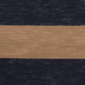 コットン&モダール×ボーダー(モカ&ダークネイビー)×天竺ニット