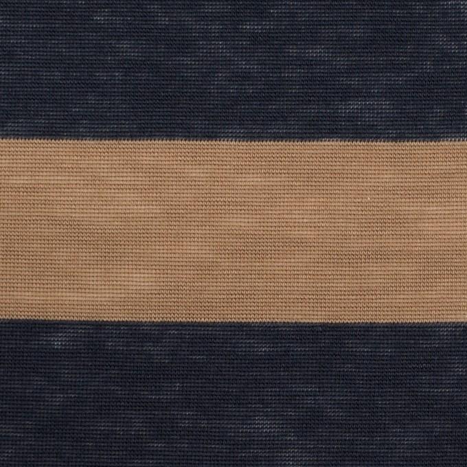 コットン&モダール×ボーダー(モカ&ダークネイビー)×天竺ニット イメージ1