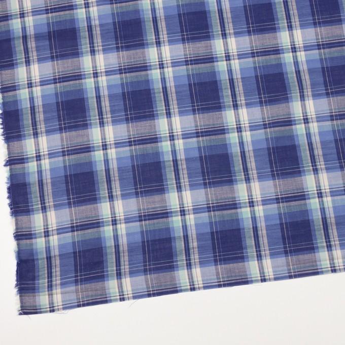 コットン&キュプラ×チェック(ウルトラマリン&ミント)×ローン イメージ2