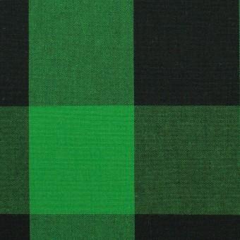コットン×チェック(グリーン&ブラック)×高密ブロード