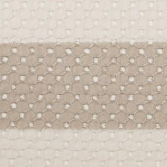 コットン×ボーダー(キナリ&ベージュ)×ローン刺繍