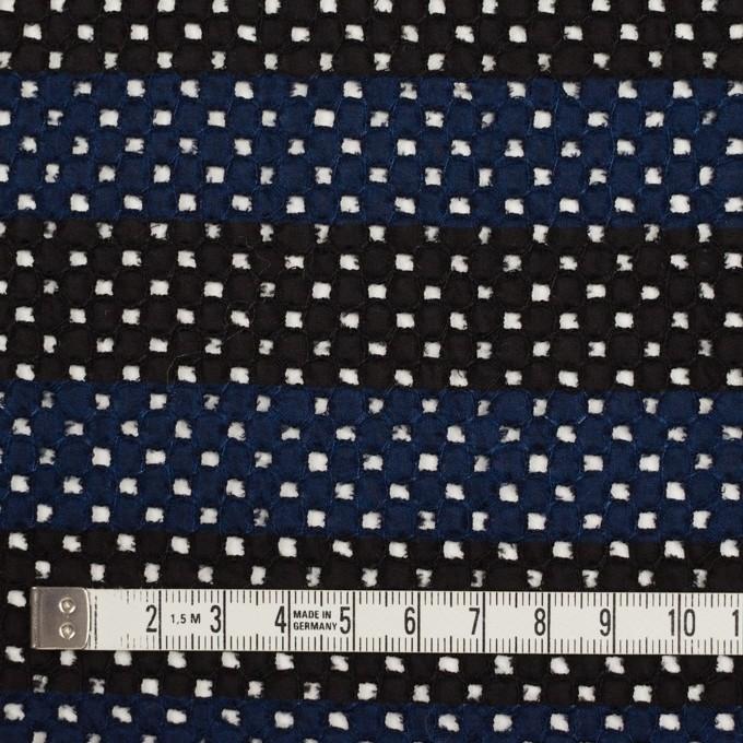 コットン×ボーダー(ネイビー&ブラック)×ローン刺繍 イメージ4