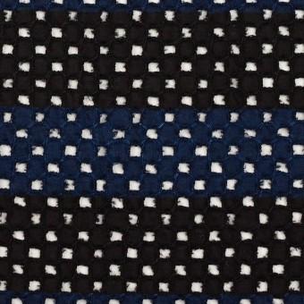 コットン×ボーダー(ネイビー&ブラック)×ローン刺繍