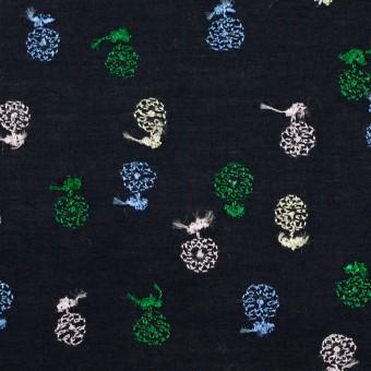 コットン×フラワー(ダークネイビー)×ローン刺繍