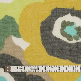 ポリエステル×フラワー(マスタード&グリーン)×ボイル_全2色 サムネイル4