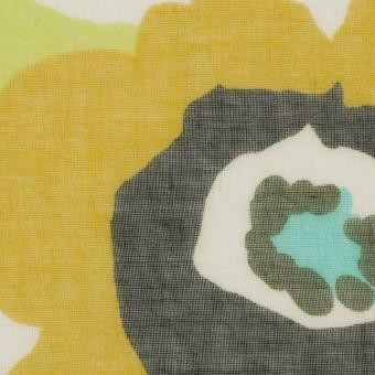 ポリエステル×フラワー(マスタード&グリーン)×ボイル_全2色