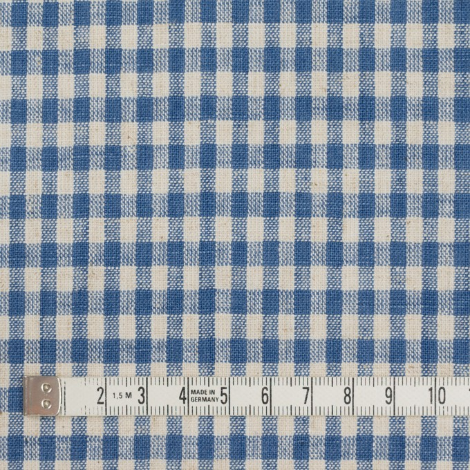 コットン&リネン×チェック(キナリ&インディゴブルー)×シーチング イメージ4