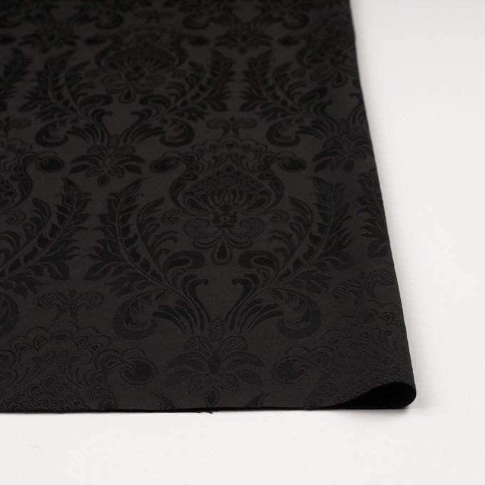 レーヨン&アセテート×幾何学模様(ダークブラウン)×サテンジャガード_イタリア製 イメージ3