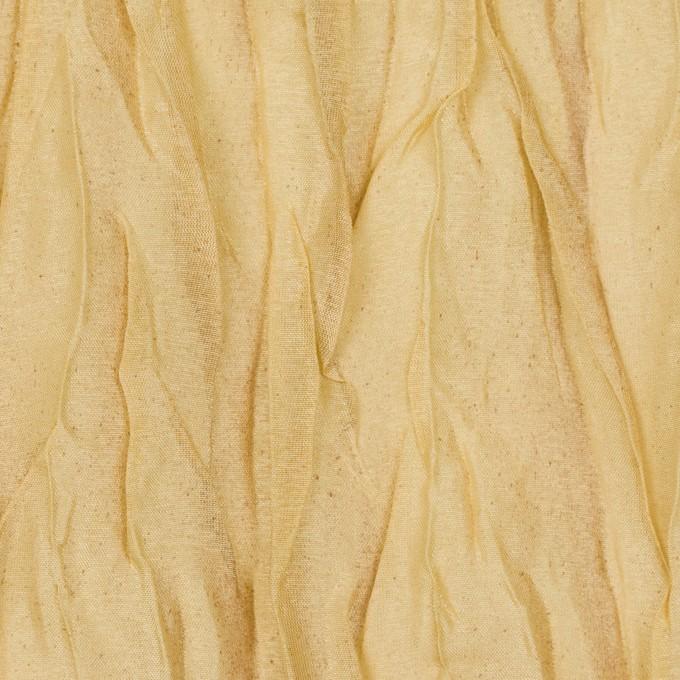 シルク&ポリエステル×無地(イエローゴールド)×オーガンジー(プリーツ加工)_イタリア製 イメージ1