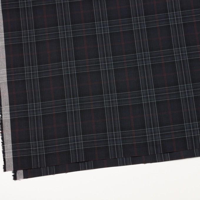 コットン&ポリウレタン×チェック(チャコール、グレー&エンジ)×ポプリンストレッチ イメージ2