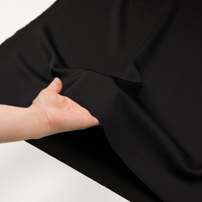 レーヨン&ウール×無地(ブラック)×サテン イメージ5
