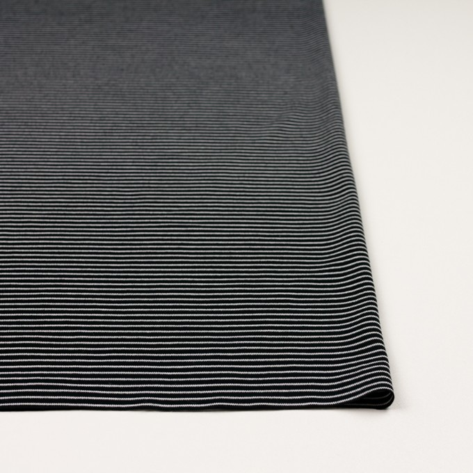 コットン&ポリエステル×ボーダー(ブラック)×フライスニット_イタリア製 イメージ3