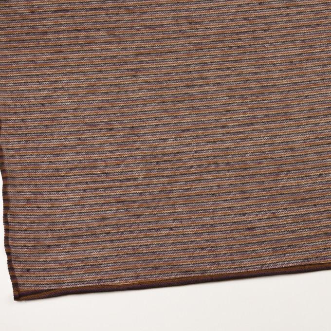 リネン&ウール混×ボーダー(パンプキン、グレープ&チャコール)×メッシュニット_イタリア製 イメージ2