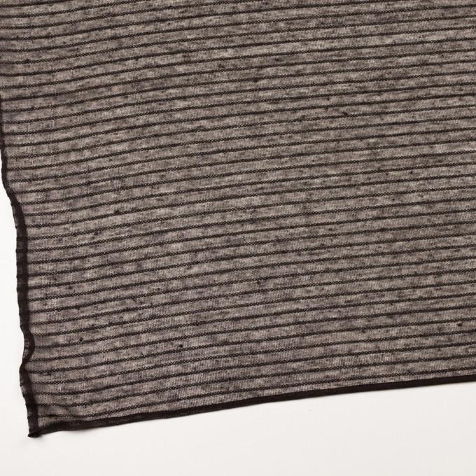 リネン&ナイロン混×ボーダー(ダークブラウン)×メッシュニット_イタリア製 イメージ2
