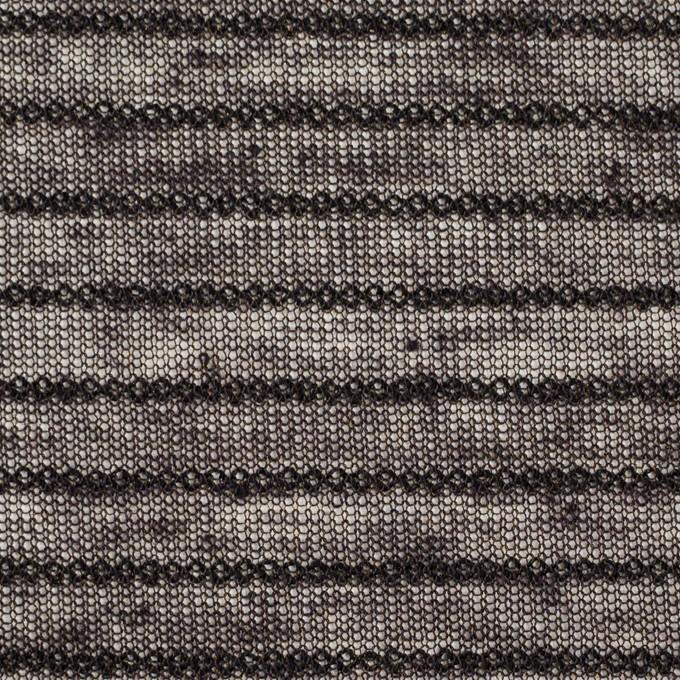 リネン&ナイロン混×ボーダー(ダークブラウン)×メッシュニット_イタリア製 イメージ1