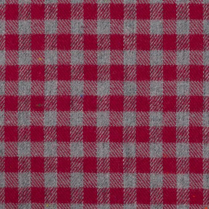 コットン&ポリエステル×チェック(ストロベリーレッド&グレー)×ヘリンボーン_全4色 イメージ1