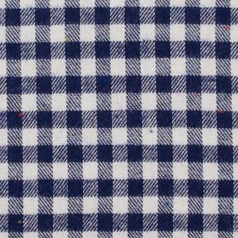 コットン&ポリエステル×チェック(ネイビー&オフホワイト)×ヘリンボーン_全4色 サムネイル1