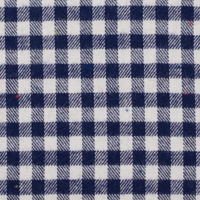 コットン&ポリエステル×チェック(ネイビー&オフホワイト)×ヘリンボーン_全4色 イメージ1