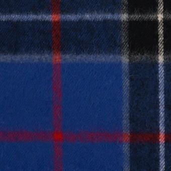 コットン×チェック(マリンブルー&ブラック)×フランネル