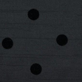 ポリエステル×水玉(ブラック)×サージ_フロッキー