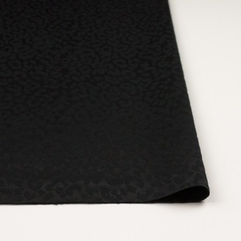 コットン&ポリエステル混×レオパード(ブラック)×サテンジャガード・ストレッチ サムネイル3