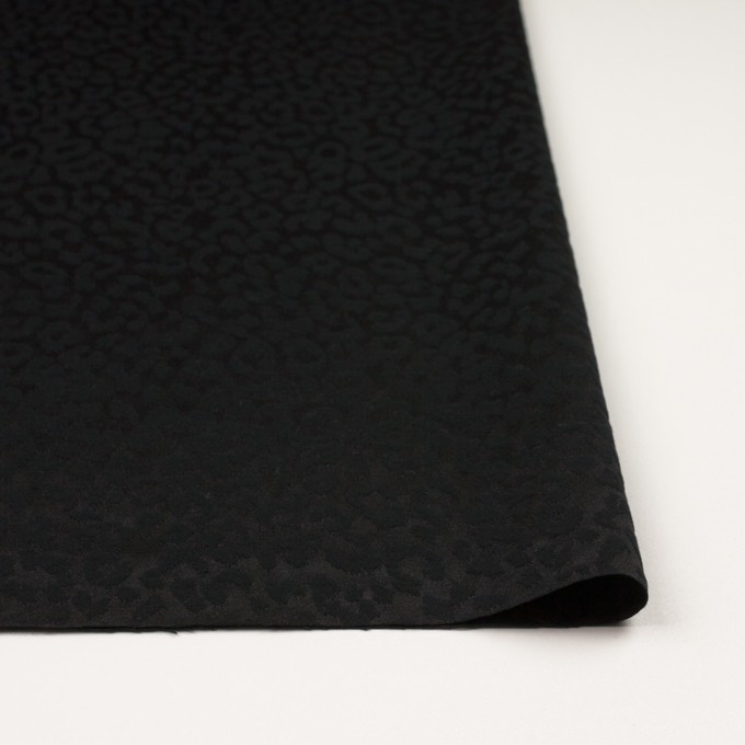 コットン&ポリエステル混×レオパード(ブラック)×サテンジャガード・ストレッチ イメージ3