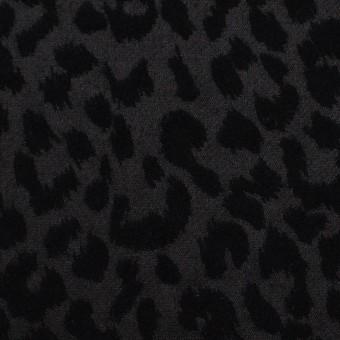 コットン&ポリエステル混×レオパード(ブラック)×サテンジャガード・ストレッチ