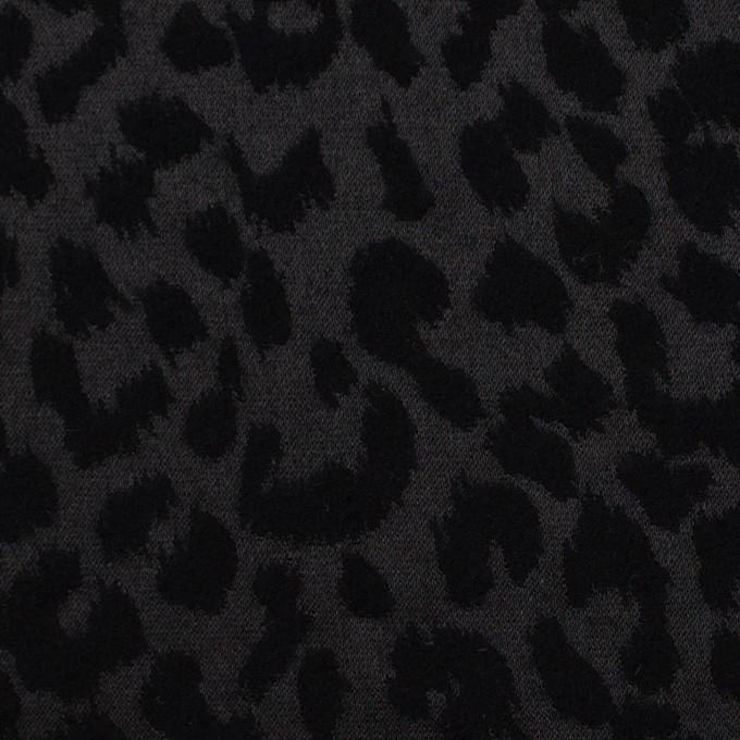 コットン&ポリエステル混×レオパード(ブラック)×サテンジャガード・ストレッチ イメージ1
