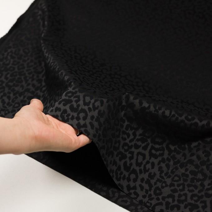 コットン&ポリエステル混×レオパード(ブラック)×サテンジャガード・ストレッチ イメージ5