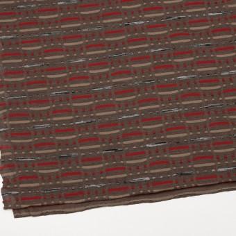 ウール&ナイロン混×幾何学模様(モカブラウン)×天竺ジャガードニット_全3色 サムネイル2
