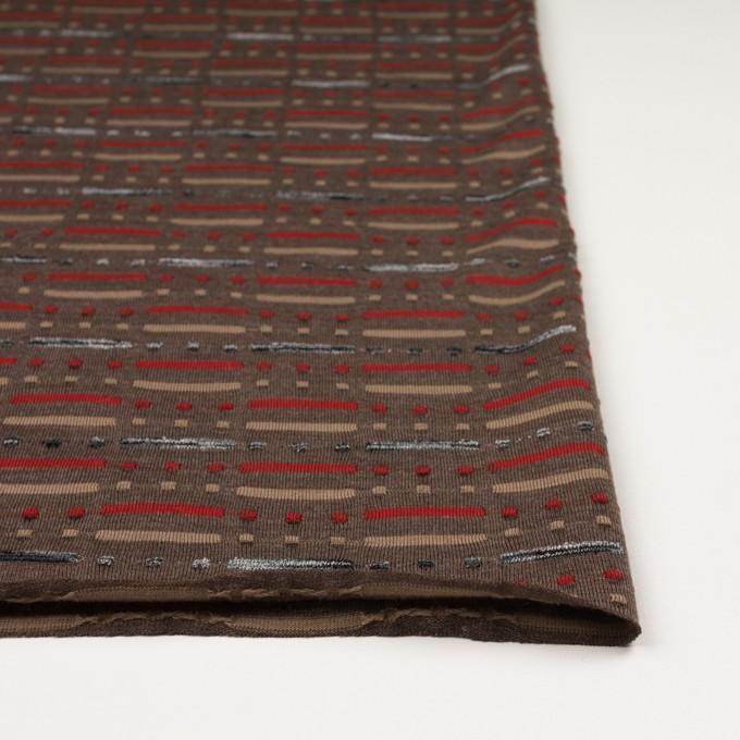 ウール&ナイロン混×幾何学模様(モカブラウン)×天竺ジャガードニット_全3色 イメージ3