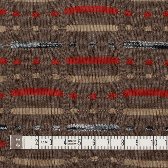 ウール&ナイロン混×幾何学模様(モカブラウン)×天竺ジャガードニット_全3色 イメージ4