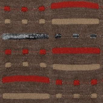 ウール&ナイロン混×幾何学模様(モカブラウン)×天竺ジャガードニット_全3色 サムネイル1